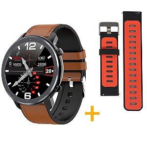 Relógio Eletrônico Smartwatch L11 - Marrom com Detalhes Preto + Pulseira Extra Preto com Vermelho - IOS e Android