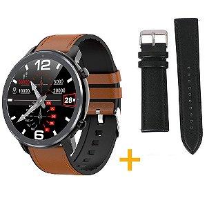 Relógio Eletrônico Smartwatch L11 - Marrom com Detalhes Preto + Pulseira Extra Preto Couro - IOS e Android