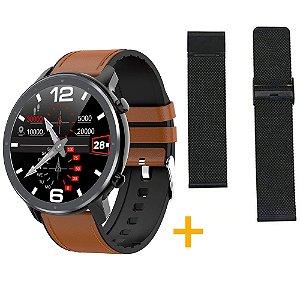 Relógio Eletrônico Smartwatch L11 - Marrom com Detalhes Preto + Pulseira Extra Preto Milanês - IOS e Android