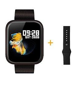 Relógio Eletrônico Smartwatch CF P70 - Preto + Pulseira Extra Preto Silicone