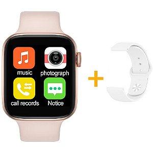 Relógio Smartwatch IWO T5 PRO - Rosa + Pulseira Extra Borracha Branco - iOS / Android - 44mm