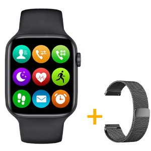 Relógio Smartwatch IWO W26 - Preto - Tela Infinita - IOS / Android - 44mm + Pulseira Extra Milanês Preto