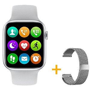 Relógio Smartwatch IWO W26 - Branco - Tela Infinita - IOS / Android - 44mm + Pulseira Extra Milanês Prata