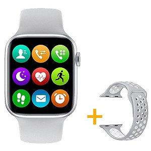Relógio Smartwatch IWO W26 - Branco - Tela Infinita - IOS / Android - 44mm + Pulseira Extra Borracha