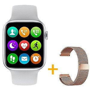 Relógio Smartwatch IWO W26 - Branco - Tela Infinita - IOS / Android - 44mm + Pulseira Extra Rosa