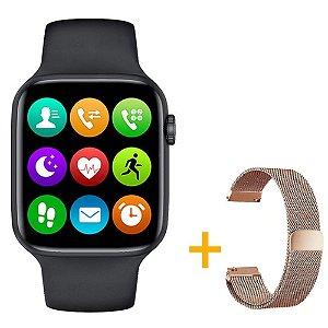 Relógio Smartwatch IWO W26 - Preto - Tela Infinita - IOS / Android - 44mm + Pulseira Extra Rosa