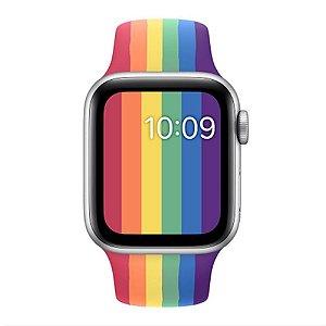Relógio Smartwatch IWO W26 - Arco Íris Detalhes Prata - Tela Infinita - IOS / Android - 44mm
