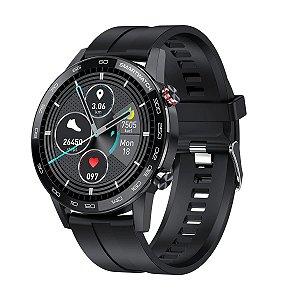 Relógio Smartwatch L16 - Preto com Pulseira Silicone Preto - IOS e Android