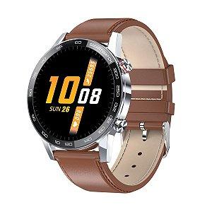 Relógio Smartwatch L16 - Prata com Pulseira Couro Marrom - IOS e Android
