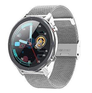 Relógio Smartwatch L17 - Prata com Pulseira Aço Prata - IOS e Android