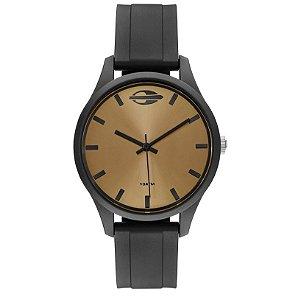 Relógio Analógico Mormaii Wave - Preto com mostrador Dourado Fosco - MO2035JS/8D