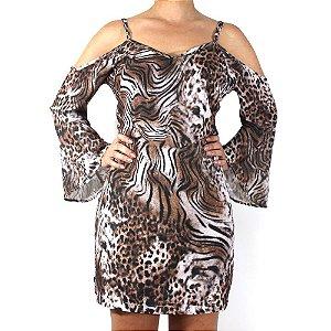 Vestido Ciganinha Ombro Vazado Animal Print - TALGUI