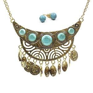 Colar Gypsy Moon + Brincos Turquesa - lookiando jewels
