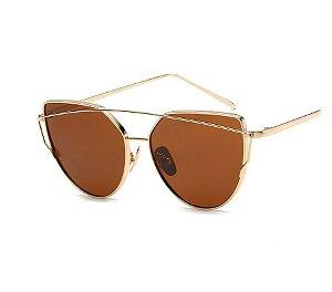 Óculos de Sol Feminino Recortes - Dourado com Lente Marrom