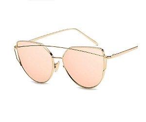 Óculos de Sol Feminino Recortes - Dourado com Lente Rosa