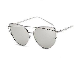 Óculos de Sol Feminino Recortes - Prata com Lente Cinza