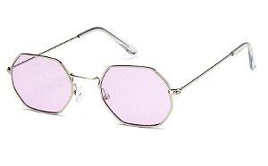 Óculos de Sol Feminino Retrô - Prata com Lente Lilás