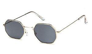 Óculos de Sol Feminino Retrô - Dourado com Lente Preto