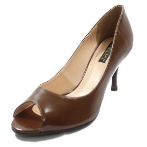 Sapato Peep Toe Couro Verniz Marrom - Divalesi