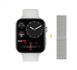 Relógio Smartwatch IWO FK88 - Tela Infinita Com GPS - Branco - 44mm + Pulseira de Brinde
