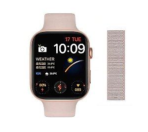 Relógio Smartwatch IWO FK88 - Tela Infinita Com GPS - Rosa - 44mm + Pulseira de Brinde