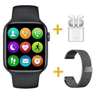 Relógio Smartwatch IWO W26 - Preto - Tela Infinita - IOS / Android - 44mm + Pulseira Extra Milanês Preto + Fone de Ouvido
