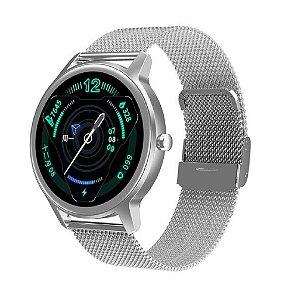 Relógio Eletrônico Smartwatch DT56 - Prata Aço - Android / IOS