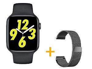 Relógio Smartwatch IWO W26 PRO - Preto - Tela Infinita - IOS / Android - 44mm + Pulseira Extra Milanês