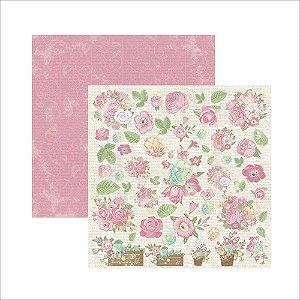 Papel para scrapbook - 30x30 Primavera Marshmallow Cestas - Toke e Crie