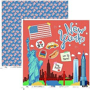 Papel para scrapbook - 30x30 Viagem New York - Ok Scrapbook