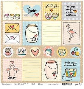 Papel para scrapbook - 30x30 Tags - Linha Meu mundo - Goodies