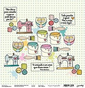 Papel para scrapbook - 30x30 Hobby Art - Linha Meu mundo - Goodies
