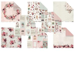 Kit 8 papéis 30,5 x 30,5 Sonho meu - Juju Scrapbook