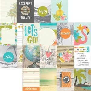 Papel para scrapbook - 30x30 You Are Here - 3x4 Journaling Card Elements - Simple Stories