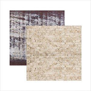 Papel para scrapbook - Texturas - Pedra e Pátina - Toke e Crie