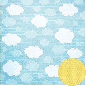 Papel para scrapbook - 30x30 Nas nuvens - Céu - Oficina do Papel