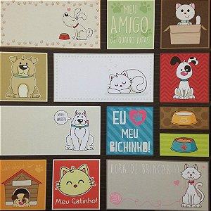 Papel para scrapbook - 30x30 Meus Bichinhos - Tags - Oficina do Papel