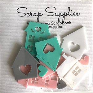 Apliques de acrílico Casinhas e corações - My Scrap Supplies