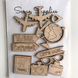 Apliques de Madeirinha Viagem - My Scrap Supplies
