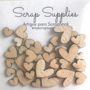 Apliques de Madeirinha Coração - My Scrap Supplies