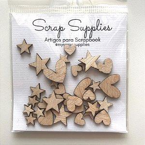 Apliques de madeirinha Coração e Estrela (Exclusivo Scrap Mimos) - My Scrap Supplies