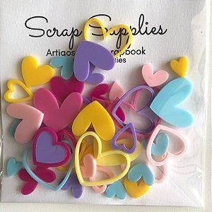 Apliques de acrílico Coração coloridos (Exclusivo Scrap Mimos) - My Scrap Supplies
