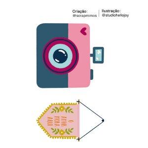 Apliques de MDF Câmera Fotográfica e Flâmula APM4-447 Dias Melhores - Scrap Mimos - Litoarte