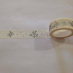 Washi tape com pontos de foil prata - Importada