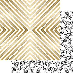 Papel Scrapbook - com FOIL dourado - Shine - Nine & Co - Teresa Collins