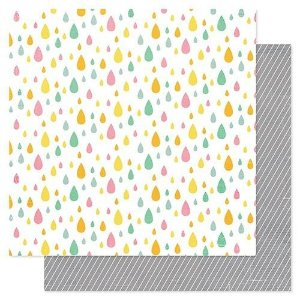 Papel Scrapbook - Rain Drops - Pink Paislee