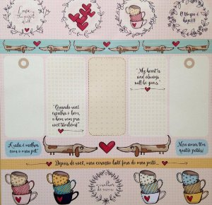 Papel para scrapbook - 30x30 Dogs & Heart - Linha All Hearted - Goodies