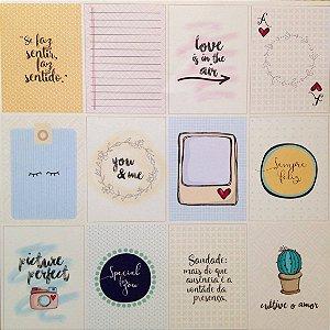 Papel para scrapbook - 30x30 Frames & Heart - Linha All Hearted - Goodies