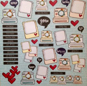 Papel para scrapbook - 30x30 Hello & Heart - Linha All Hearted - Goodies