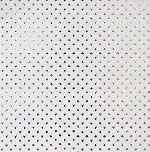 Papel Scrapbook - Estrelas Dourado Branco - Toke e Crie